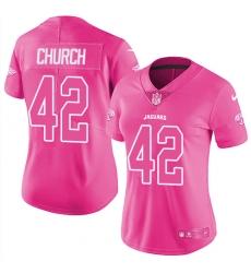 Women's Nike Jacksonville Jaguars #42 Barry Church Limited Pink Rush Fashion NFL Jersey
