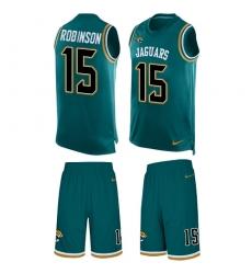 Men's Nike Jacksonville Jaguars #15 Allen Robinson Limited Teal Green Tank Top Suit NFL Jersey