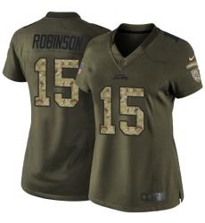 Women's Nike Jacksonville Jaguars #15 Allen Robinson Elite Green Salute to Service NFL Jersey