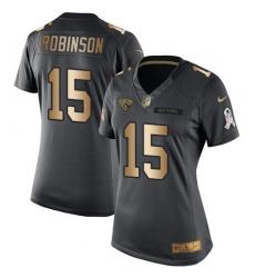 Women's Nike Jacksonville Jaguars #15 Allen Robinson Limited Black/Gold Salute to Service NFL Jersey