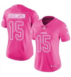 Women's Nike Jacksonville Jaguars #15 Allen Robinson Limited Pink Rush Fashion NFL Jersey