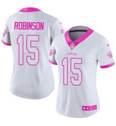 Women's Nike Jacksonville Jaguars #15 Allen Robinson Limited White/Pink Rush Fashion NFL Jersey