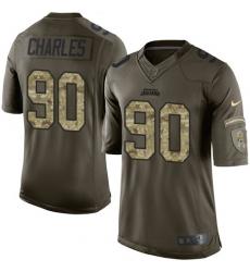 Men's Nike Jacksonville Jaguars #90 Stefan Charles Elite Green Salute to Service NFL Jersey
