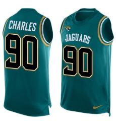 Men's Nike Jacksonville Jaguars #90 Stefan Charles Limited Teal Green Player Name & Number Tank Top NFL Jersey
