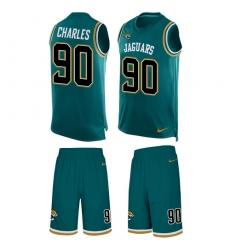 Men's Nike Jacksonville Jaguars #90 Stefan Charles Limited Teal Green Tank Top Suit NFL Jersey