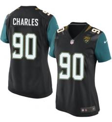 Women's Nike Jacksonville Jaguars #90 Stefan Charles Game Black Alternate NFL Jersey