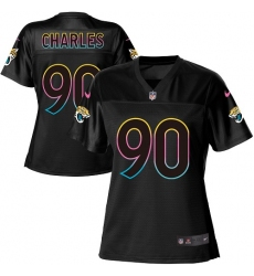 Women's Nike Jacksonville Jaguars #90 Stefan Charles Game Black Fashion NFL Jersey