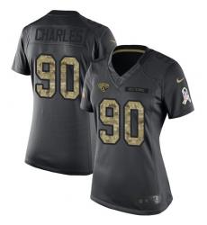 Women's Nike Jacksonville Jaguars #90 Stefan Charles Limited Black 2016 Salute to Service NFL Jersey