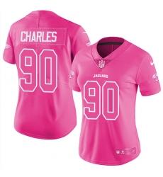 Women's Nike Jacksonville Jaguars #90 Stefan Charles Limited Pink Rush Fashion NFL Jersey
